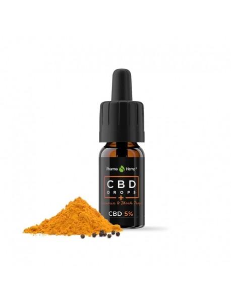 CBD конопено масло 5 % с черен пипер и куркумин, 10 мл